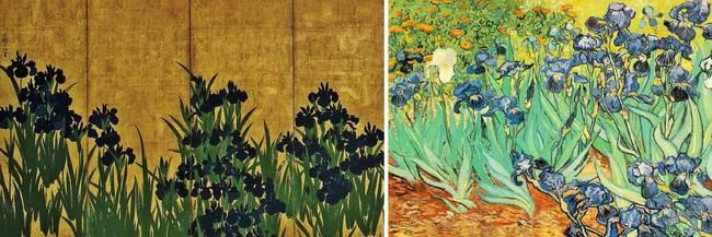 Los Lirios de Ogata Korin frente a los Lirios de Van Gogh